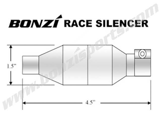 BONZI Silencer for Tuned Pipe - SILVER ONLY